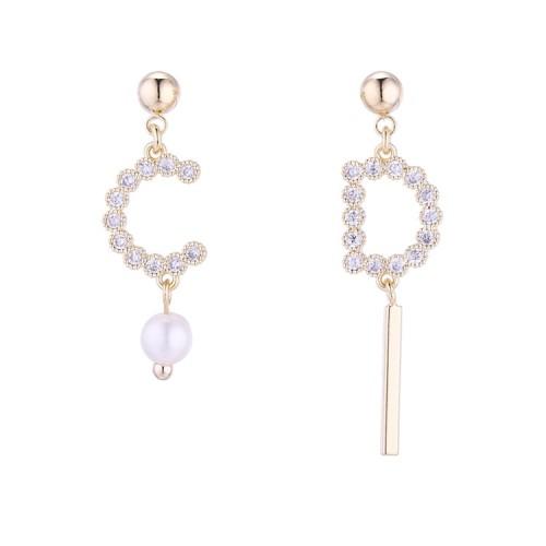 Alphabet asymmetrical earrings 30739