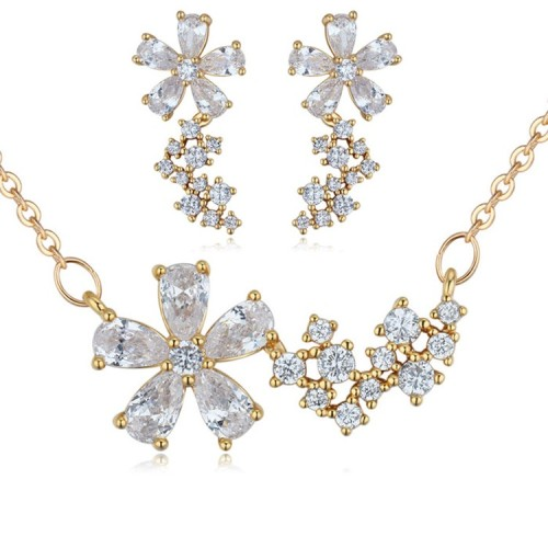 Silver needles flower jewelry set 25876