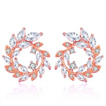 Silver needle round earrings 28680