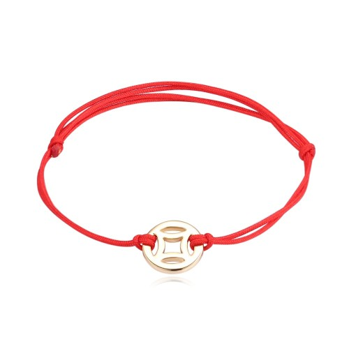 Small coin red rope bracelet