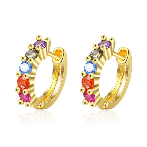 European And American Style Color Zircon Earrings Simple Ear Clip Earrings Gang Drill Short Elegant 543