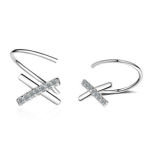 Simple Temperament X-Type Ear Stud Women's Mesh Red Non-Mainstream Design Wave Ear Rings Rotating Curve Cross Earrings XZE545
