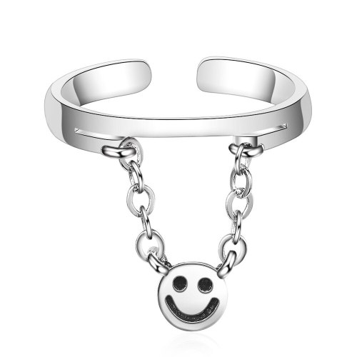Chain Smiley Face Smile Ring Female Tide Net Red Simple Ins Normcore Style Korean Simple Cool Retro Ring XZR301