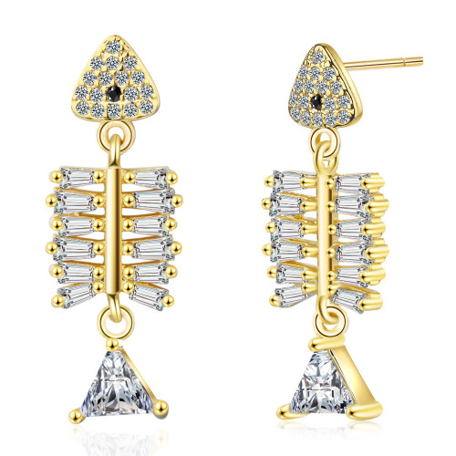 Fishbone Ear Stud Women's Design Earrings Non-Mainstream Temperament Korean Cool Trendy Ear Rings Zirconium Diamond Ear Ed866