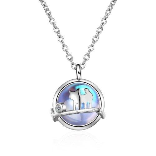 White Opal Cat Necklace Women's Mori Short Clavicle Chain Simple Pendant
