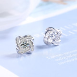Rotating Ear Stud Women's Simple Net Red Normcore Style Cool Ins Wind Synthetic Zircon Fashion Ear Stud Ed874