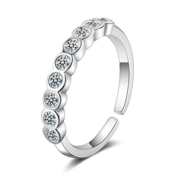 Ring Women's Japanese And South Korean Style Fashion Single Row Diamond Ring Elegant Personality Small Diamond Opening XZR304