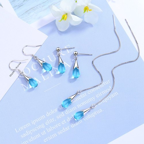 Blue Drop Earrings Long Tassled Mori Ear Pendant Korean Style Hipster Immortal Ins Ear Stud XZE521