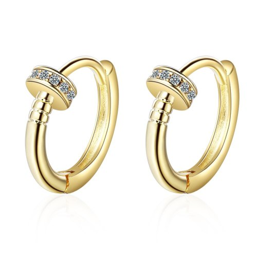 EH547 Nail Ear Clip Women's Korean-Style Fashion Geometry Pattern Round Diamond Set Ear Clip Simple Geometric Earrings