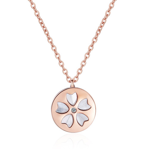 Shengfang Cherry Blossom Necklace Mother Shell Heart-Shaped Cherry Blossom Pendant Short Clavicle Chain XZR508