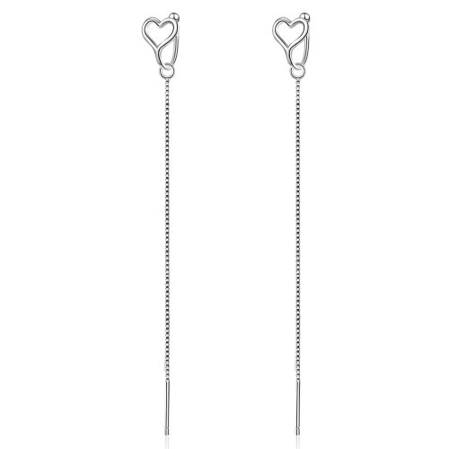 Clip-on Earrings Female Korean Hollow Love Long Hanging Earrings Bead Copies Two Wear Girls Atrial Appendage Ornament EH528