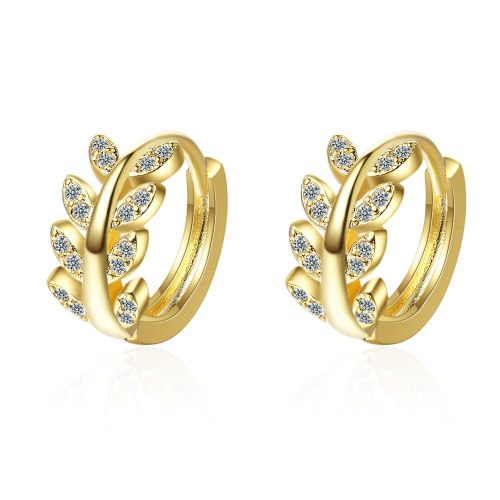 Earrings Female Temperament Korean Ear Clip New Style Fashion Zirconium Diamond Leaf Earrings Korean Temperament XZE540