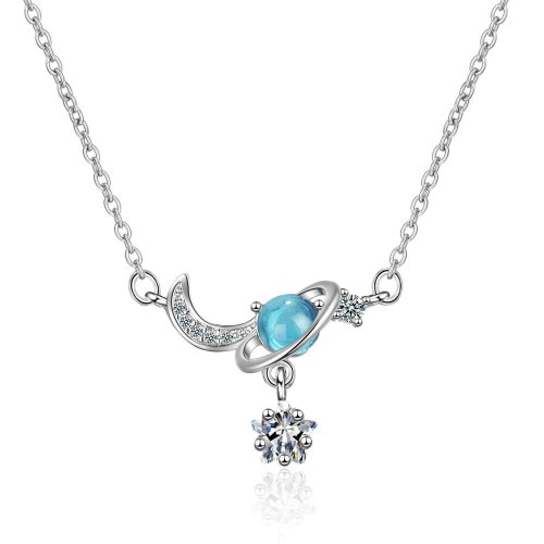 Non-Mainstream Design High-End French Star Moon Girlfriends Necklace Girl's Mori Short Blue Star Clavicle Chain XZR503