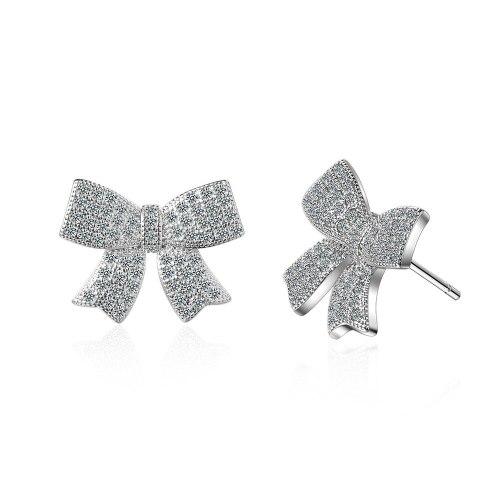 New Style Full Diamond Bow Ear Stud Female Korean Fashion Zirconium Diamond Elegant Ear Rings Ed875