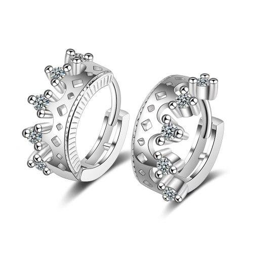 Hipster Diamond Set Crown Ear Clip Women's Korean-Style Sweet Cutout Earrings Design Ear Stud EH517