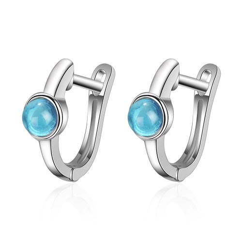 Ear Clip Korean Style Hipster Blue Rounded Blue Ear Clip Elegant Artistic Small Ear Ring Ear Rings XZE537