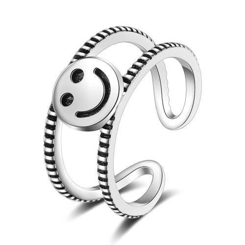 Archaism Silver Open Index Finger Smiley Face Ring Female Ins Fashion Retro Fashion Normcore Style Simple Double XZR296
