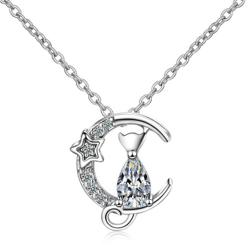 Necklace Women's Zirconium Diamond Cat Pendant Non-Mainstream Design Short Clavicle Chain XZR499