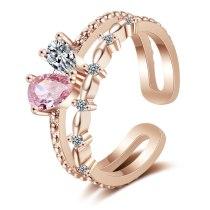 Net Red Heart-Shaped Index Finger Ring Female Fashion Zirconium Diamond Korean-Style Open Normcore Ins Fashion XZR317