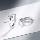 EH547 Nail Ear Clip Women's Korean-Style Fashion Geometry Pattern Round Diamond Set Ear Clip Simple Geometric Earrings