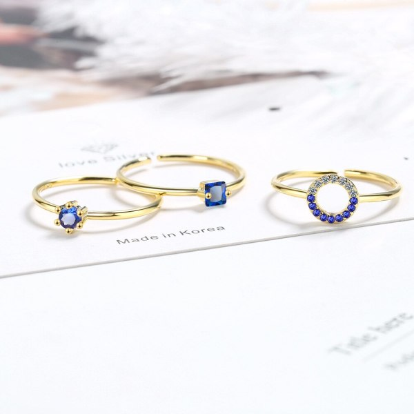 Ins Wind Ring Female Fashion Cool Net Red Blue Zircon Open Index Finger Ring Female Simple Temperament XZR322