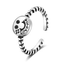 Smiling Face Index Finger Open Ring Female Ins Fashion Simple Fashion Retro Normcore Style JZ298