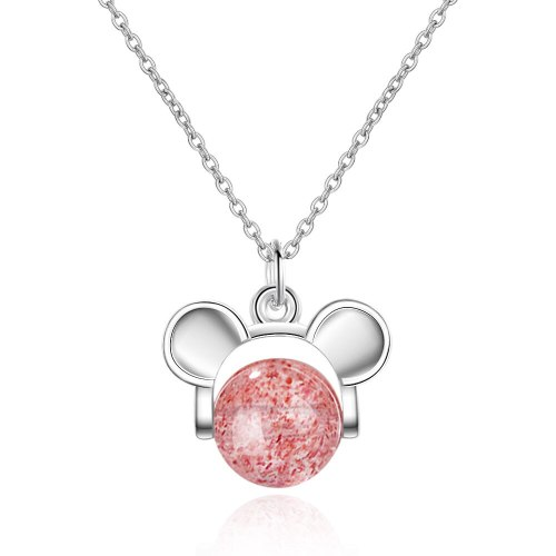 Korean-Style Hipster Year Of The Rat Mini Pink Trick Peach Blossom Strawberry Crystal Mouse Simple Short Clavicle Chain XZR497