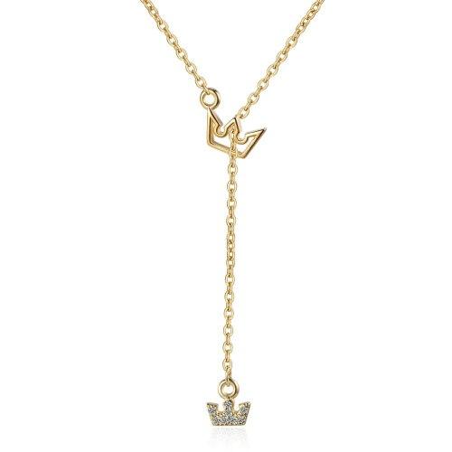 Necklace Women's Clavicle Chain Simple Crown Diamond Set Pendant Non-Mainstream Design Fashion Necklace XZR502