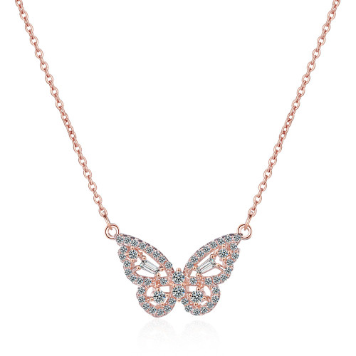 Hipster Sweet Korean-Style Rhinestone Butterfly Necklace Women's Short Style Clavicle Chain 509