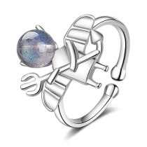 Ring Women's Korean-Style Hipster Simple BlueRay Moonstone Small Devil Open Hand Jewelry Xzr312