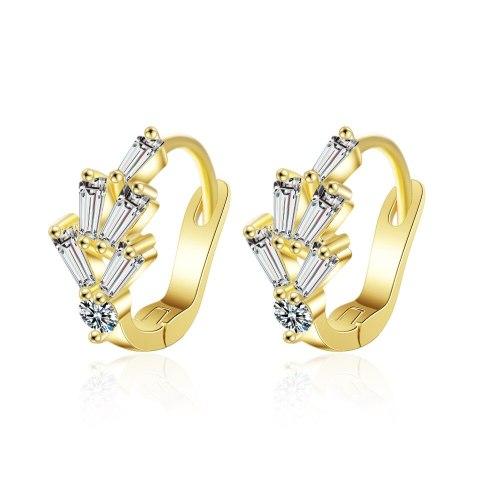 Earrings Women's Korean-Style Simple Cool Hipster Full Zircon Five-Petal Flower Ear Clip Xze542