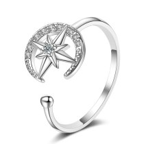Ring Women's Japanese-Style Simple Diamond Set Moon And The Stars Open Ring Ring Fashion Single Ring Xzr305