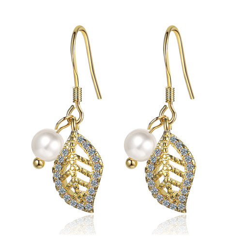 Gold Leaves Zircon Pearl Earrings New Fashion Ear Stud Female Temperament Simple Xzr532