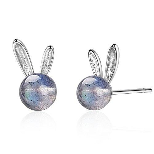 Natural BlueRay Moonstone Rabbit Ear Stud Female Mori Hipster Earrings Transport Compact Ear Stud ED868