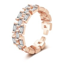 Ring Ins Simple And Versatile Chain Full Zircon Open Female Ring Cool Ring Xzr320