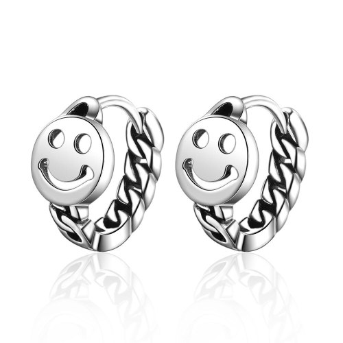 Earrings Female Retro Retro Round Chain Smiley Personality Earring Red Hipster Ornament Ear Clip Xze519
