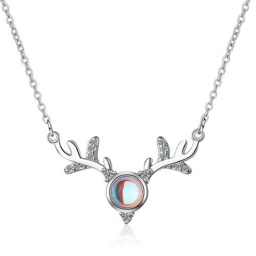 Yilu You Necklace Female Artificial Moonstone Antler Net Red Hipster Ornament Short Hipster Clavicle Chain Xzn391