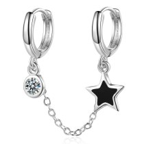 Double Ear Hole One-Piece Ear Clip Japanese And Korean Cool Five-Pointed Star Epoxy Ear Stud Simple Zircon Earrings For Xze515