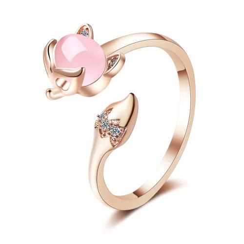 Ring Women's Korean-Style Fresh Diamond Fox Ring Elegant Synthetic Opal Index Ring Female Xzr321