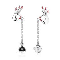 OK Gesture Ear Stud Long Tassel Lovely Asymmetric Heart-Shaped Long Ear Stud EarringsED872