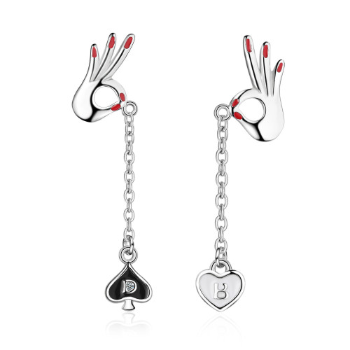 OK Gesture Ear Stud Long Tassel Lovely Asymmetric Heart-Shaped Long Ear Stud EarringsED872