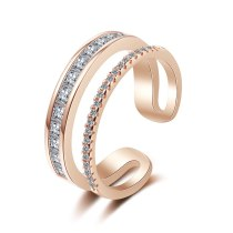 Double-Layer Ring Women's Korean-Style Hipster Simple Zirconium Diamond Adjustable Girl's Heart Jewelry Xzr319
