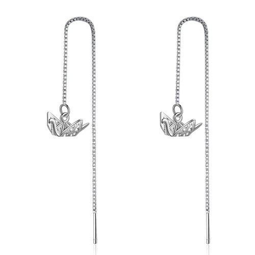 Three-dimensional Paper Crane Tassels Hanging Earrings Long New Style Cool Girl's Temperament All-match Normcore Style Xzr536