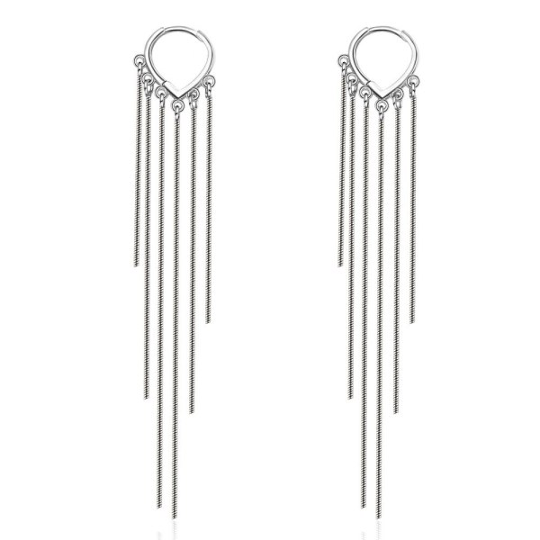 Long Tassel Earrings Women's Elegant Ear Pendant Korean-Style Heart-Shaped Ear Clip Net Red Ear Stud Xzr524