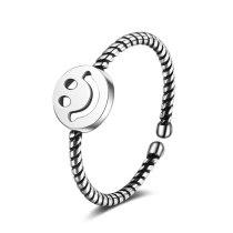 Ring Female Korean Style Fashion Cool Round Smiley Face Retro Hemp Rope Opening Ring Xzr306
