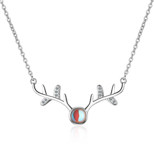 Artificial Moonstone Deer Has You Necklace Female Net Red Hipster Ornament Short Hipster Diamond Set Elk Clavicle Chain Xzn399
