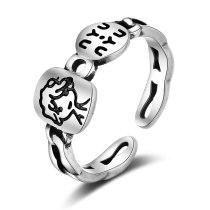 Korean-Style Cute Creative Boy Engraved Ring Elegant Vintage Lettered Ring Xzr310