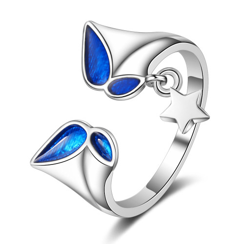 Blue Butterfly Ring Opening Female Star Cool Little Finger Ring Non-Mainstream Design Hand Product Xzr313