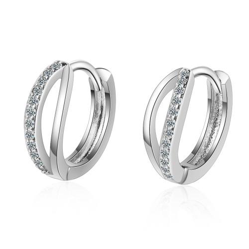 Wavy Ear Clip Women's Earrings New Fashion Ear Stud Simple Small Inlay Diamond Korean Temperament Net Red Ear Stud xzr548