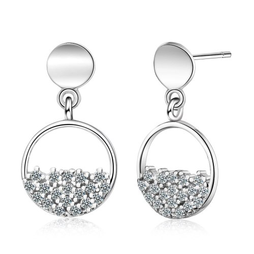 Circle Ear Stud Women's New Fashion Short Earrings Temperament All-match Women's Zirconium Diamond Design Sense Pendant Ed864